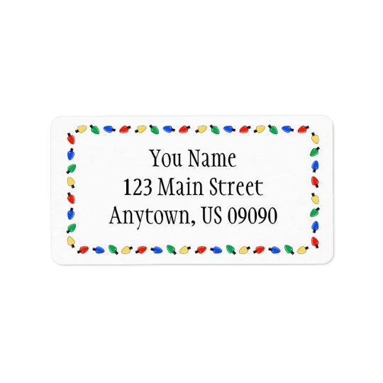 Weihnachtslicht-Grenzadressen-Etiketten (weiß) Adressetiketten