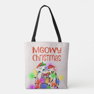Weihnachtslicht-und Sankt-Katzen-Taschen-Tasche Tasche