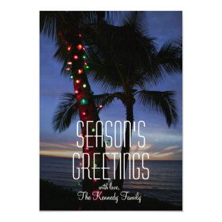 Weihnachtslichter schmücken eine Palme am 12,7 X 17,8 Cm Einladungskarte