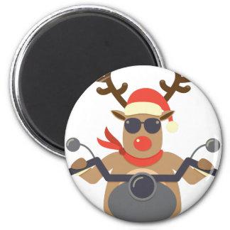 Weihnachtslustiges Rudolf-Radfahrer-Motorrad Runder Magnet 5,1 Cm
