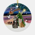 Weihnachtsmagie - zwei Tabbykatzen (#2) Keramik Ornament