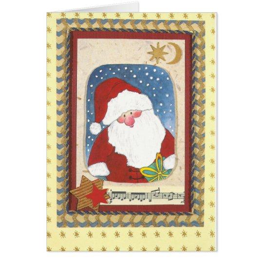 """""""Weihnachtsmann Aquarell-Collage-Karte"""" Karte"""
