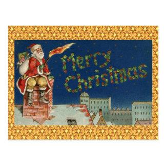 Weihnachtsmann auf Dach-lodernder Fackel Postkarte