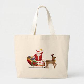 Weihnachtsmann auf dem Ren-Pferdeschlitten, der Jumbo Stoffbeutel