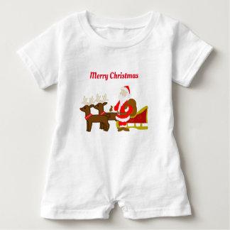 Weihnachtsmann auf dem WeihnachtsPferdeschlitten Baby Strampler