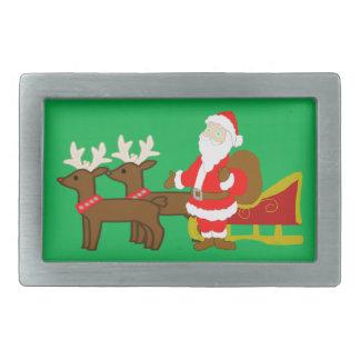Weihnachtsmann auf dem WeihnachtsPferdeschlitten Rechteckige Gürtelschnalle