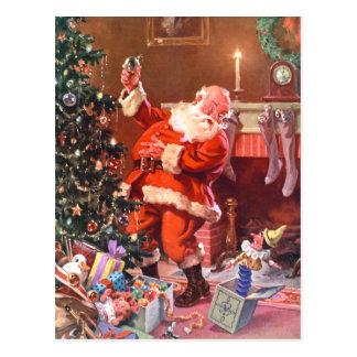 Weihnachtsmann auf der Nacht vor Weihnachten Postkarte