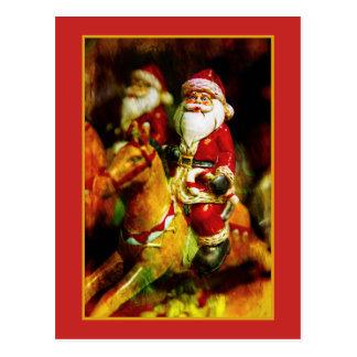 Weihnachtsmann auf Karussell Postkarte