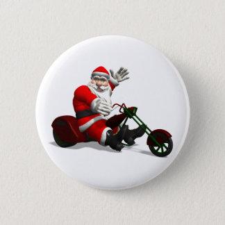 Weihnachtsmann auf Trike Runder Button 5,7 Cm