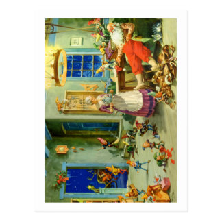 Weihnachtsmann bringt Zuhause für eine Postkarte