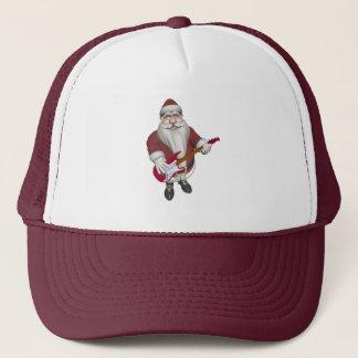 Weihnachtsmann, der E-Gitarre spielt Truckerkappe