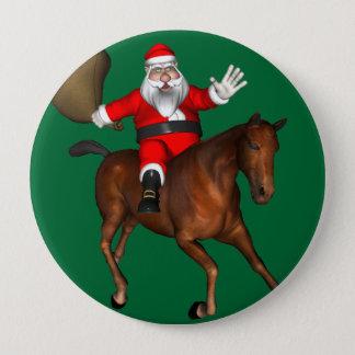 Weihnachtsmann, der ein Brown-Pferd reitet Runder Button 10,2 Cm
