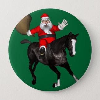 Weihnachtsmann, der ein schwarzes Pferd reitet Runder Button 10,2 Cm
