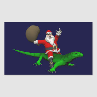 Weihnachtsmann, der grüne Eidechse reitet Rechteckiger Aufkleber