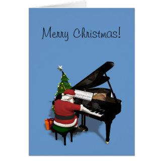 Weihnachtsmann, der Klavier spielt Karte
