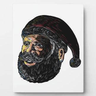 Weihnachtsmann Drei-Viertel Ansicht Scratchboard Fotoplatte
