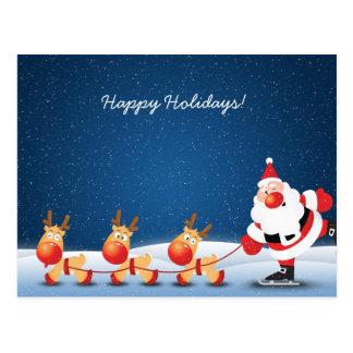 Weihnachtsmann-Eis-Skaten mit seinen Renen Postkarte