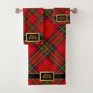 Weihnachtsmann-Gurtfrohe Weihnachten und Tartan Badhandtuch Set