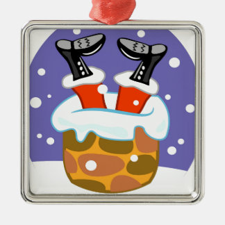 Weihnachtsmann hinunter den Kamin Silbernes Ornament