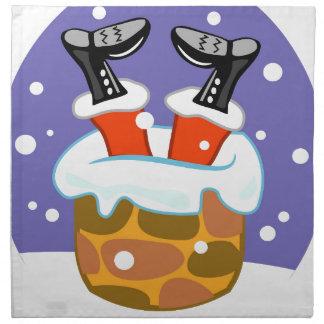 Weihnachtsmann hinunter den Kamin Stoffserviette