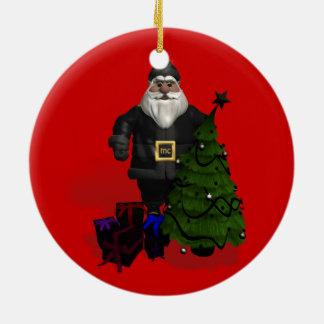 Weihnachtsmann im schwarzen Leder Keramik Ornament