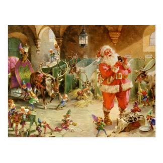 Weihnachtsmann in den Nordpol-Ren-Ställen Postkarte