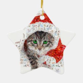 Weihnachtsmann-Katze - Katzencollage - Kitty - Keramik Stern-Ornament