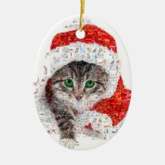 Weihnachtsmann-Katze - Katzencollage - Kitty - Ovales Keramik Ornament