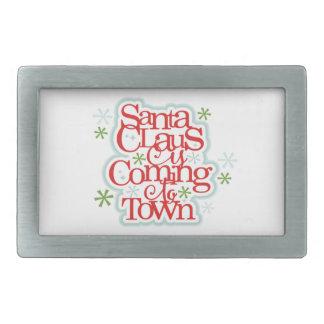 Weihnachtsmann kommt zum Stadtweihnachten Rechteckige Gürtelschnalle