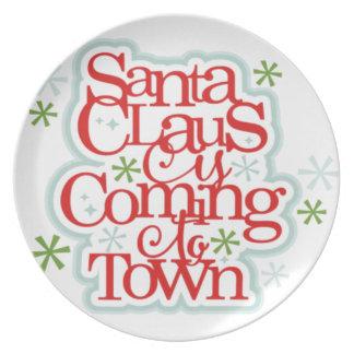 Weihnachtsmann kommt zum Stadtweihnachten Teller