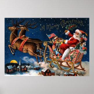 Weihnachtsmann kommt zur Stadt Poster