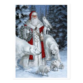 Weihnachtsmann mit einer Eule und Eisbären Postkarte