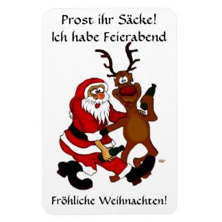 Weihnachtsmann mit Elch - Prost ihr Säcke! Magnet