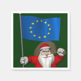 Weihnachtsmann mit Fahne der europäischen Papierserviette