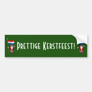 Weihnachtsmann mit Fahne der Niederlande Autoaufkleber