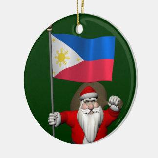 Weihnachtsmann mit Fahne der Philippinen Keramik Ornament