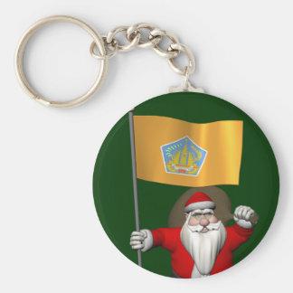 Weihnachtsmann mit Fahne von Bali Standard Runder Schlüsselanhänger