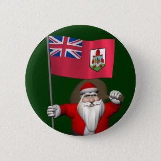 Weihnachtsmann mit Fahne von Bermuda Runder Button 5,7 Cm