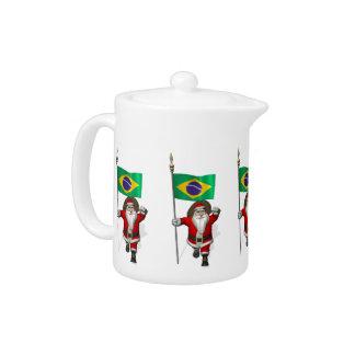 Weihnachtsmann mit Fahne von Brasilien
