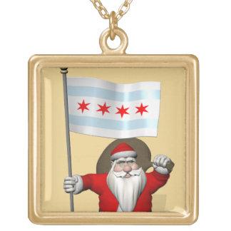 Weihnachtsmann mit Fahne von Chicago Vergoldete Kette