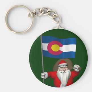 Weihnachtsmann mit Fahne von Colorado Schlüsselanhänger