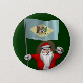 Weihnachtsmann mit Fahne von Delaware Runder Button 5,7 Cm