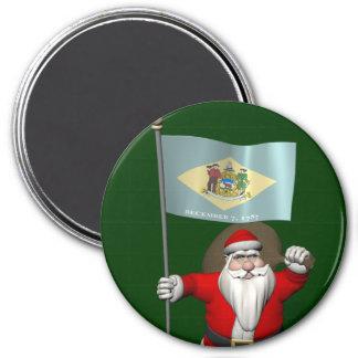 Weihnachtsmann mit Fahne von Delaware Runder Magnet 7,6 Cm