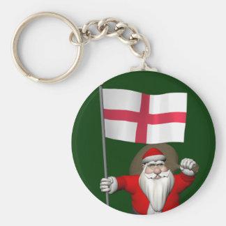 Weihnachtsmann mit Fahne von England Schlüsselanhänger