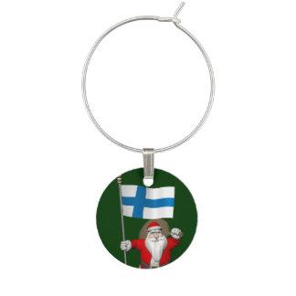 Weihnachtsmann mit Fahne von Finnland Glasmarker
