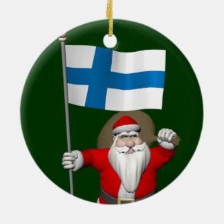 Weihnachtsmann mit Fahne von Finnland Keramik Ornament