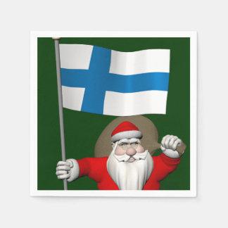 Weihnachtsmann mit Fahne von Finnland Serviette
