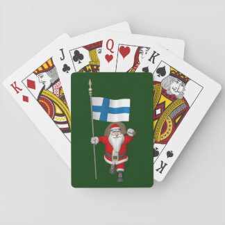 Weihnachtsmann mit Fahne von Finnland Spielkarten