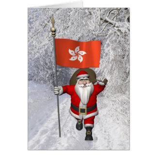 Weihnachtsmann mit Fahne von Hong Kong Karte