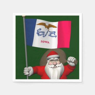 Weihnachtsmann mit Fahne von Iowa Papierservietten